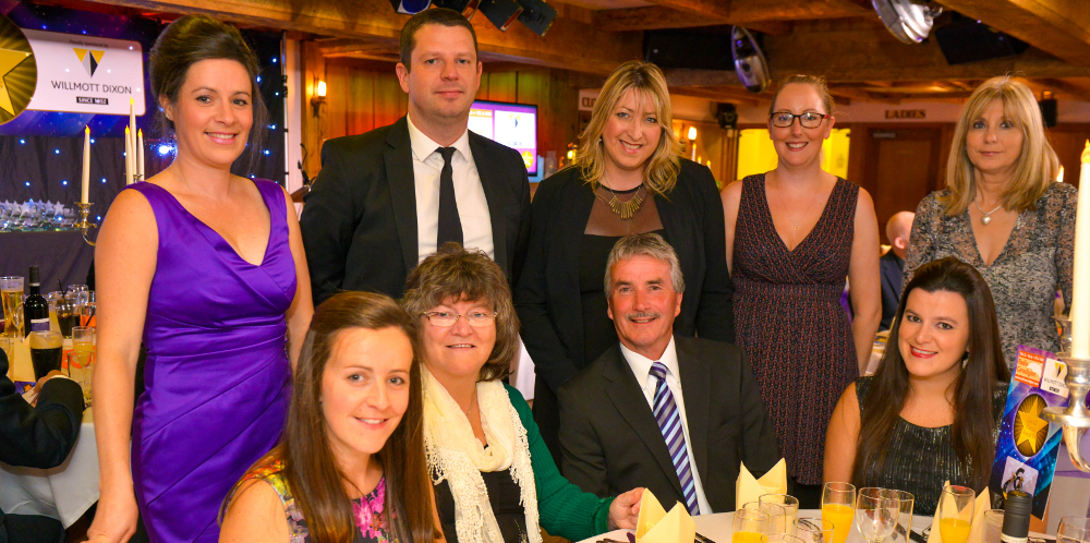 Top row from right: Eleri Lewis (Canta), Ffion Wyn James (Canta) Heather Davies (Antur Teifi) and Aled Davies (Telemat at the Radio Ceredigion Local Hero Awards.