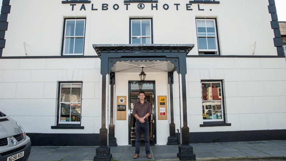 Mick Taylor outside Y Talbot Hotel, Tregaron