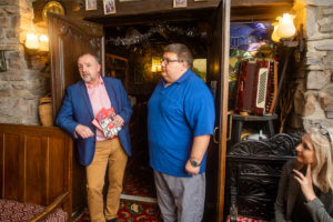 Dai Nicholas, Business Wales Adviser and Marcus Coles owner of Coles Brewery in Llanddarog
