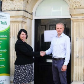Ceredigion MP Ben Lake visited the old HSBC bank in Llandysul on Monday 8th July to support Antur Teifi