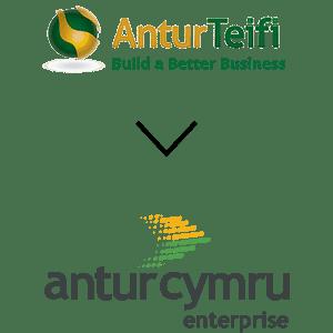 old antur teifi and new antur cymru logo